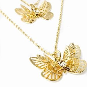 Double Pendant Layered Goldtone Butterfly Necklace